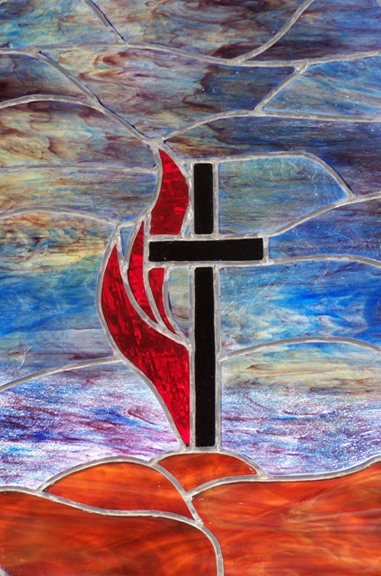 stained glass cross flame